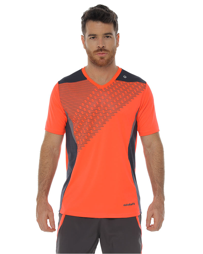 Color Racketball Deportiva Para Naranja Corta Hombre Camiseta Manga PuwOkXTZi