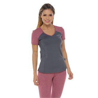 Camiseta-Deportiva-manga-corta-gris-vinotinto-para-mujer