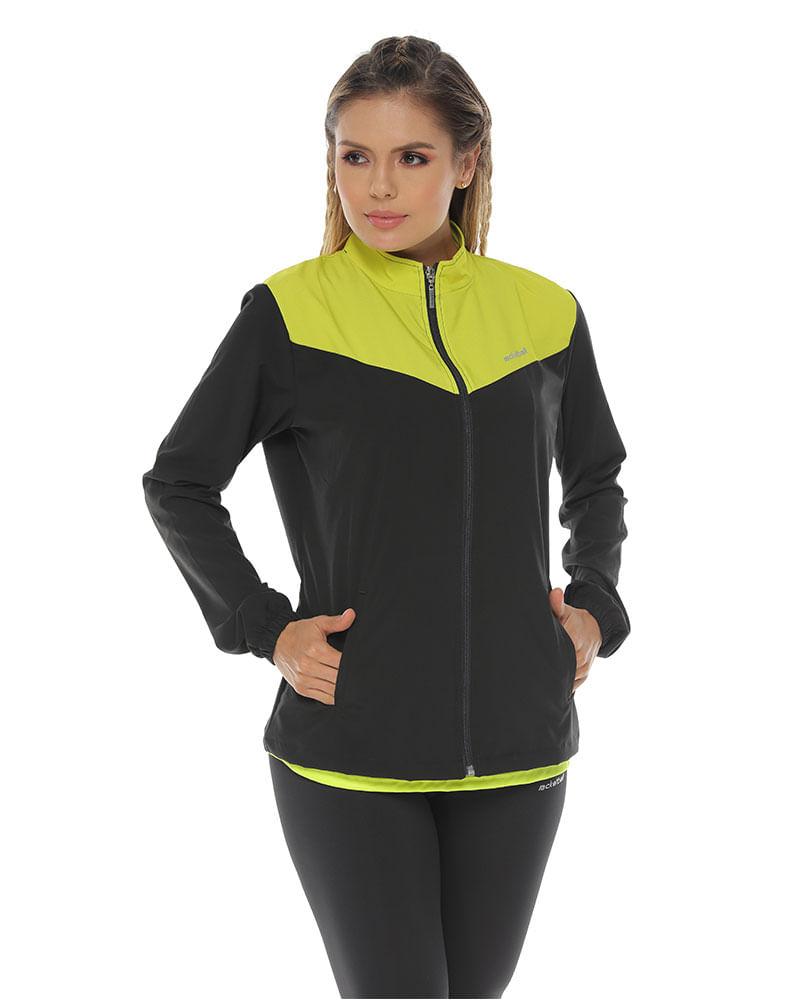 diseño atemporal 9b71f 947c5 Chaqueta Deportiva color negro verde lima para mujer ...