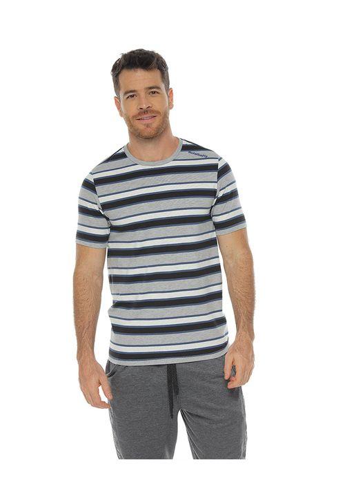 Camiseta-Manga-corta-con-cuello-redondo-color-azul-para-hombre